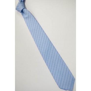 Cravatta Celeste piccolo Pois Blu - 100% Pura Seta - Made in Italy