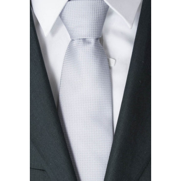 Cravatta Tintaunita Grigio Chiaro 2 - 100% Pura Seta - Renato Balestra