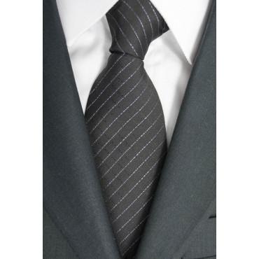 Cravatta Larga Grigia Regimental Rosa - 100% Pura Seta - Made in Italy