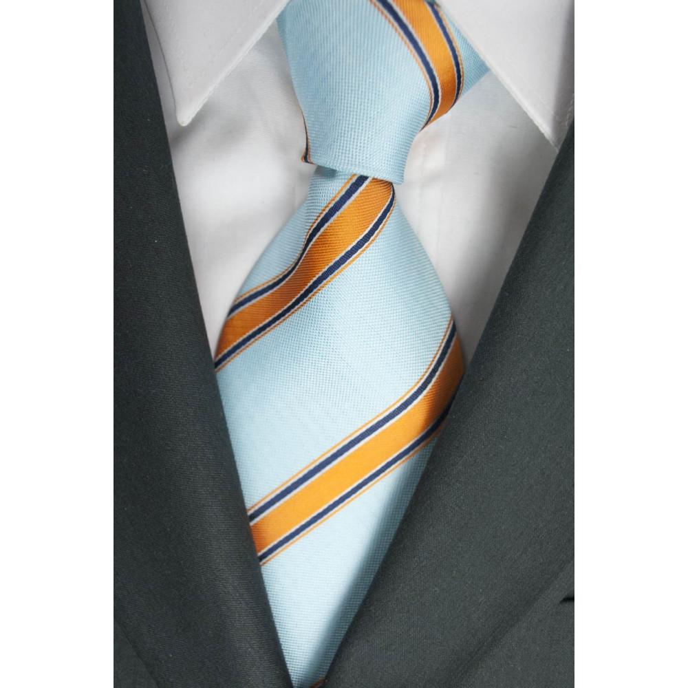 Cravatta Acquamarina Regimental Arancio - 100% Pura Seta - Made in Italy