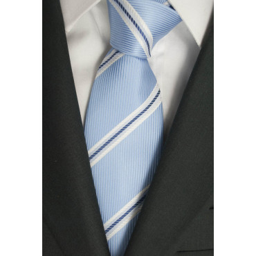 Tie the Heavenly Regimental White - 100% Pure Silk - Made in Italy