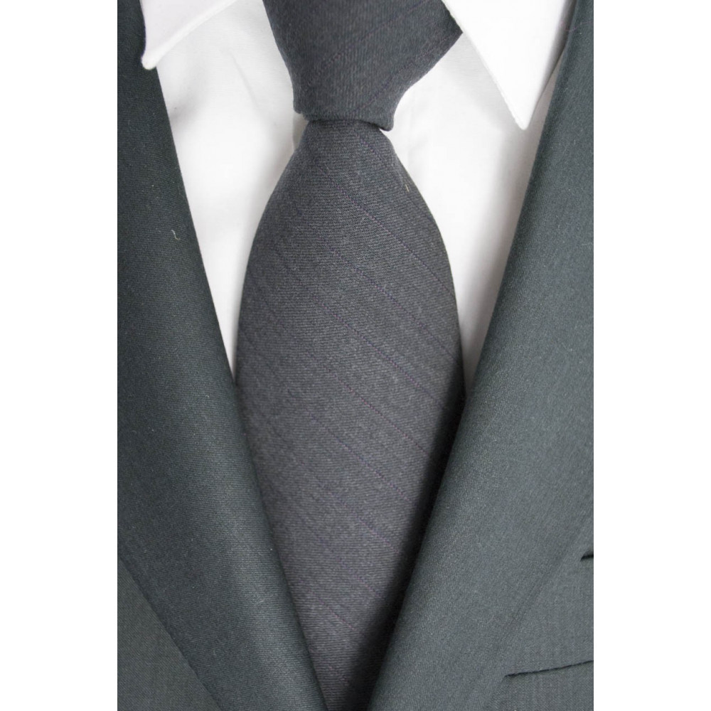 Cravatta Grigio Scuro Opaco Cacharel - 100% Pura Lana - Made in Italy