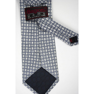 Cravatta Grigio Piccoli Disegni Bianco - Laura Biagiotti - 100% Pura Seta