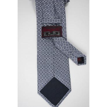 Cravatta Grigio Piccoli Disegni Bianco e Blu - Laura Biagiotti - 100% Pura Seta