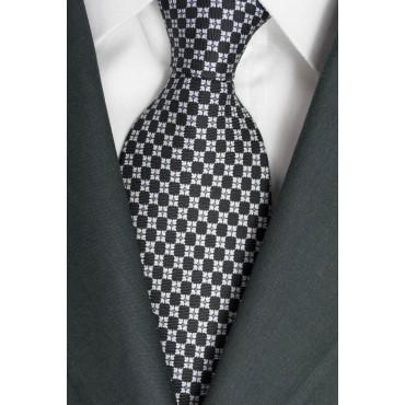 Cravatta Nero Piccoli Disegni Bianco - Laura Biagiotti - 100% Pura Seta