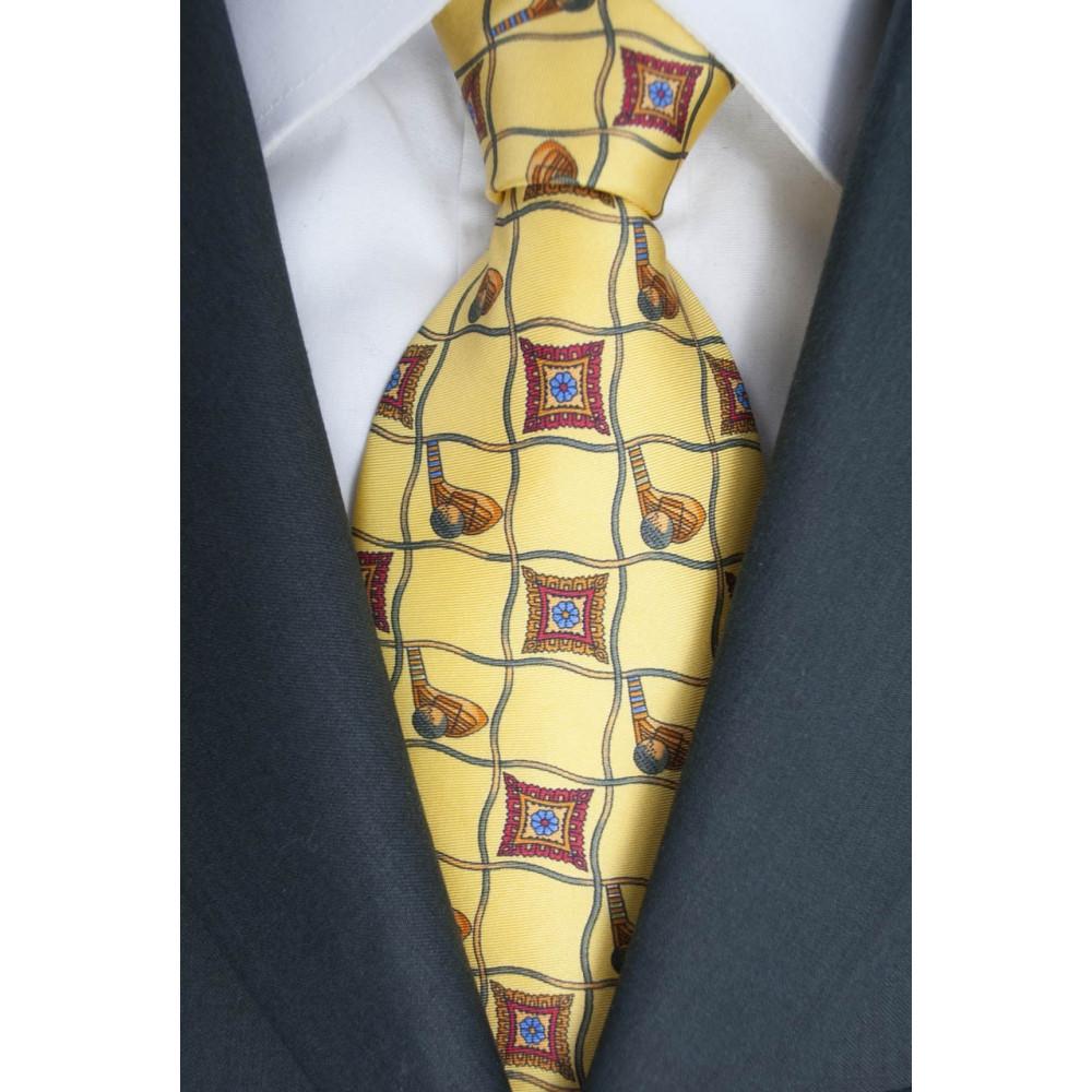 Cravatta Giallo Quadri con Disegni Rosso - Laura Biagiotti - 100% Pura Seta