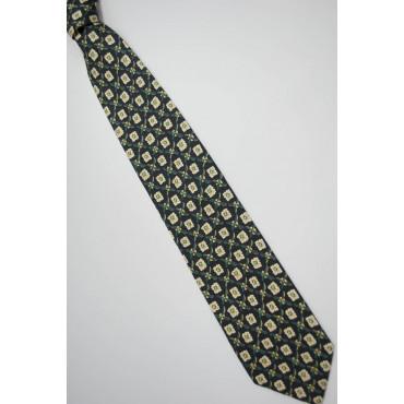 Cravatta Nero Rombi Disegni Giallo - Laura Biagiotti - 100% Pura Seta