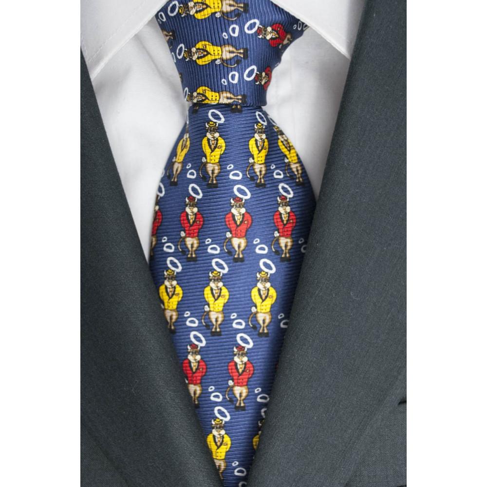 Cravatta- Piccoli Disegni Toro Lamborghini - Blu, Rosso, Giallo, Bluette - 100% Pura Seta