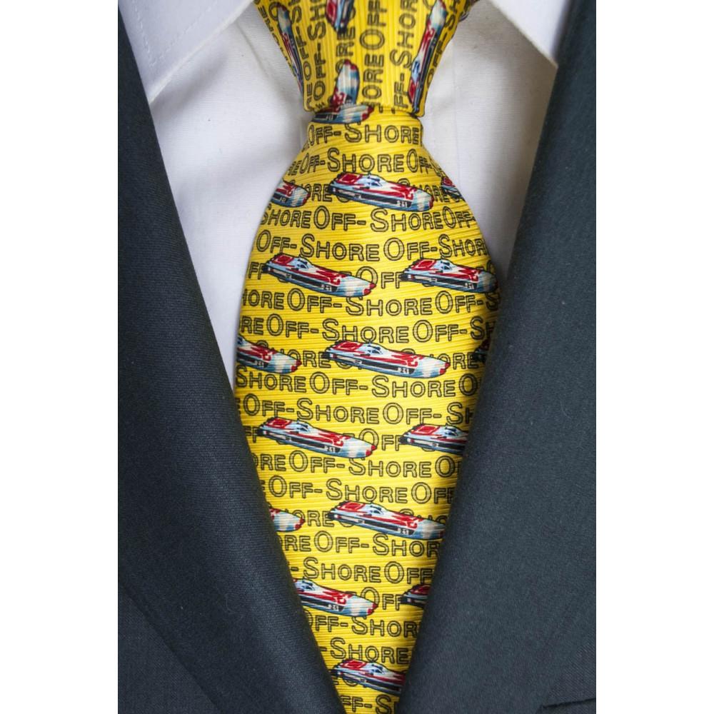 Cravatta Giallo Disegni Barche OffShore Lamborghini  - 100% Pura Seta