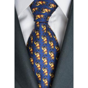 Krawatte Dunkelblau Mit Kleinen Zeichnungen Stier Lamborghini - 1027 - 100% Reine Seide