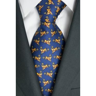 Cravatta Blu Navy Disegni Toro Lamborghini  - 1026 - 100% Pura Seta
