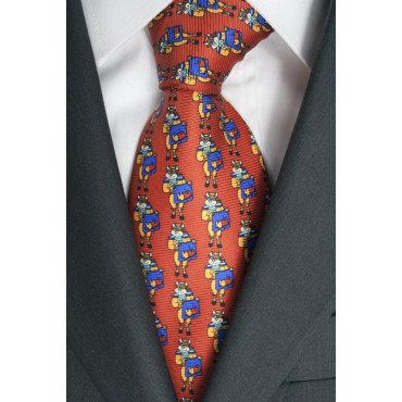 Krawatte Rot, Zeichnungen Stier Lamborghini - 1030 - 100% Reine Seide
