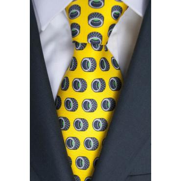 Cravatta Gialla Disegno Pneumatici Lamborghini  - 1007 - 100% Pura Seta