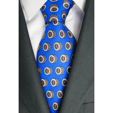 Cravatta Bluette Disegno Pneumatici Lamborghini  - 1007 - 100% Pura Seta