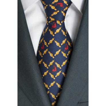 Cravatta Blu Disegno Candele e Toro Lamborghini  - 1017 - 100% Pura Seta