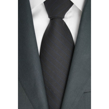 Cravatta Nero Regimental Blu Cacharel - 100% Pura Lana - Made in Italy