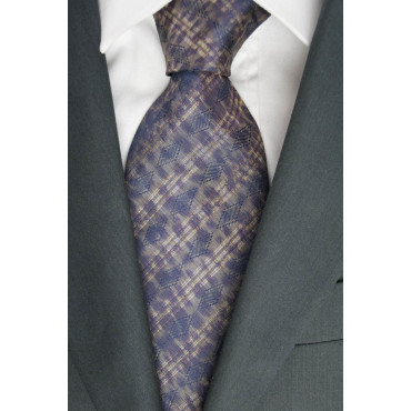 Cravatta 1° Classe Alviero Martini Beige Fantasia Blu- 100% Pura Seta