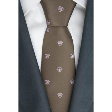 Cravatta Marrone Piccoli Disegni Rosa - 100% Pura Seta - Made in Italy