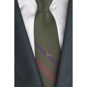 Cravatta Verde Scuro Cavallerizzo con Cane - 100% Pura Seta - Made in Italy