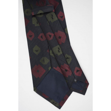 Cravatta Nero Quadri Disegni Giallo e Arancio - 100% Pura Seta