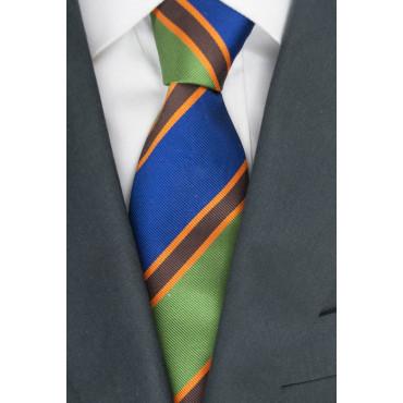 Krawatte Regimental Grün Blau Orange - 100% Reine Seide