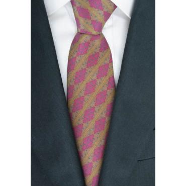 Cravatta Marrone Ocra Piccoli Disegni Rosso - 100% Pura Seta