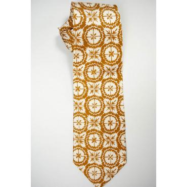 Cravatta Arancio Ruggine Disegno Fantasia - 100% Pura Seta
