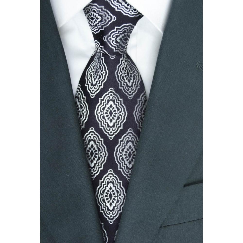 Cravatta Marrone Scuro Disegno Arabesque - 100% Pura Seta