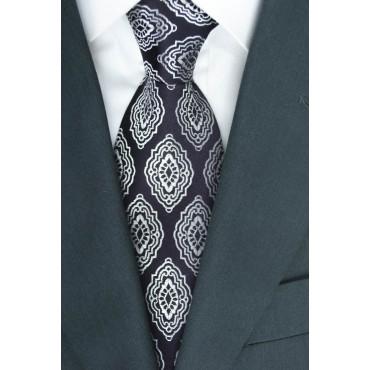 Cravatta Bordeaux Scuro Disegno Arabesque - 100% Pura Seta