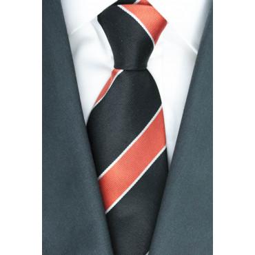 Cravatta Regimental Nero e Arancio - 100% Pura Seta
