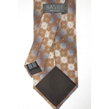 Cravatta Beige Piccoli Disegni Geometrici Marrone - Basile - 100% Pura Seta