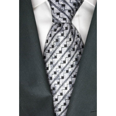 Tie Light Grey Small Geometric Designs Black - Basile - 100% Pure Silk