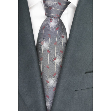 Cravatta Grigio Medio Piccoli Disegni Geometrici Bordeaux - Basile - 100% Pura Seta
