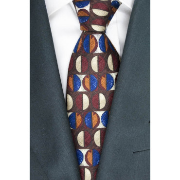 Cravatta Marrone Disegni Geometrici Vari Colori - Basile - 100% Pura Seta