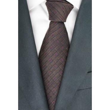 Braune Krawatte Geometrische Muster Regimental - Basile - 100% Reine Seide
