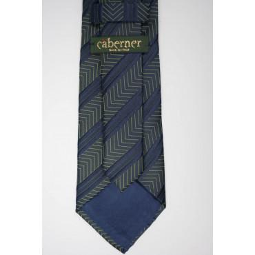 Cravatta Blu Regimental a Spina Cangiante - 100% Pura Seta - Made in Italy