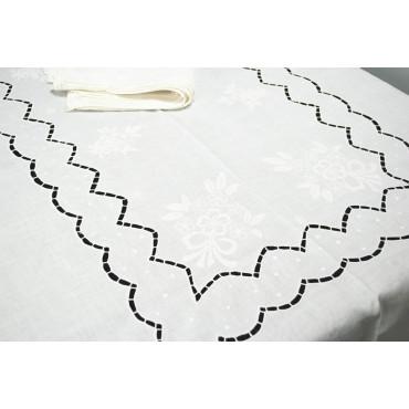 Tovaglia Ricamo a Mano Puro Lino - Intaglio e Fiori 12 - 280x180 + 12 tovaglioli