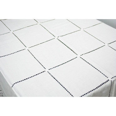 Tovaglia Ricamo a Mano Puro Lino - Intaglio Quadri 15 - 260x180 + 12 tovaglioli