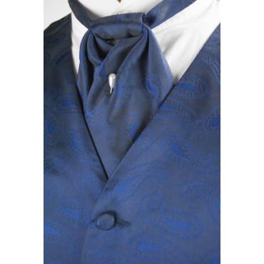 Gilet + Plastron Pura Seta Taglia 54 - Blu Scuro disegni Cachemire bluette