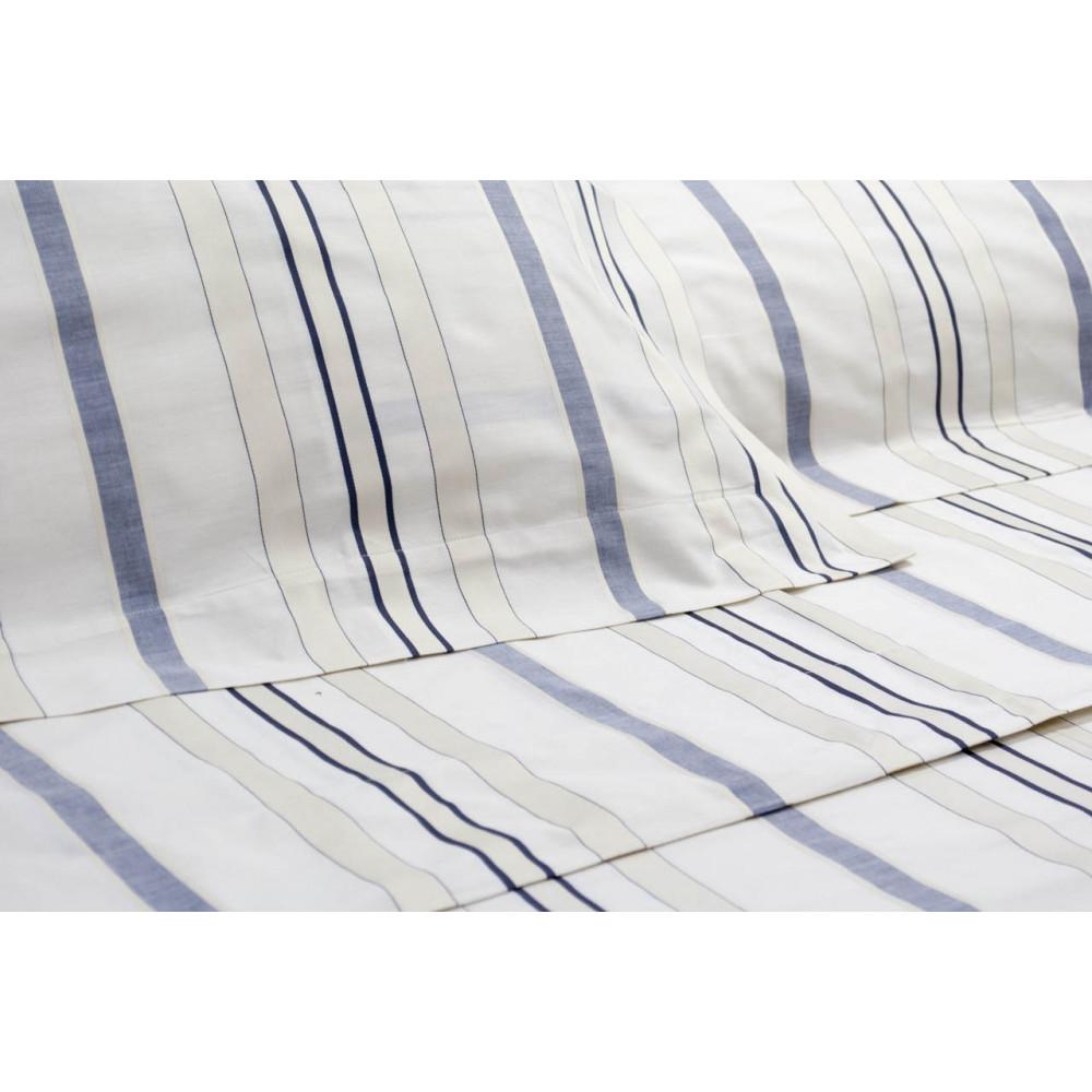 Hojas de cama de matrimonio King size Marfil Rayas Azul de la Moña ...