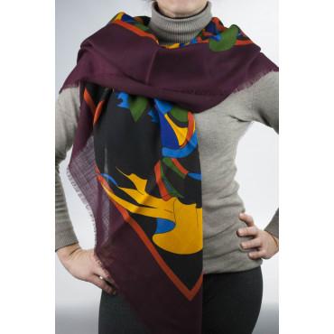 Grande Scialle Stola Tessuto Lana Leggera - Cornice Bordeaux Fantasia - 140x140