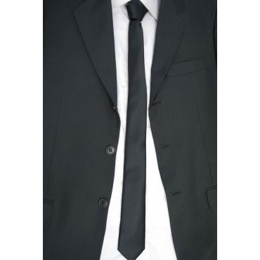 Cravatta Stretta Nera Raso di Seta - Elegante - Made in Italy