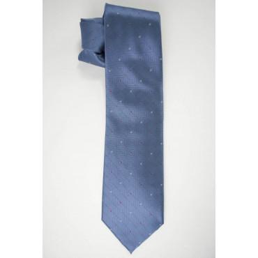 Krawatte Hellblaue Kleine Tupfen-Rot und Gelb - 100% Reine Seide - Made in Italy