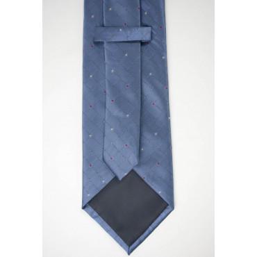 Cravatta Azzurra Piccoli Pois Rosso e Giallo - 100% Pura Seta - Made in Italy