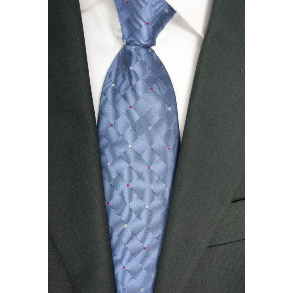 Blue tie with Small polka Dots Red and Yellow - 100% Pure Silk - Made in Italy