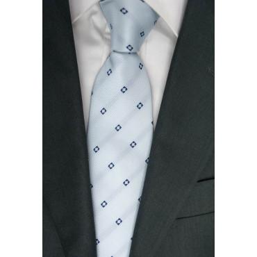 Cravatta Larga 10 Celeste Disegni Blu - 100% Pura Seta - Made in Italy