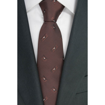 Brown tie with Small Designs - 100% Pure Silk - Made in Italy