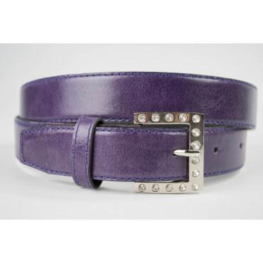 Cintura Viola in cuoio lunga 105 cm fibbia cromata e strass - taglie forti