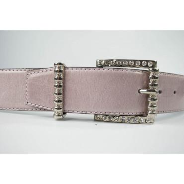 Cintura Rosa in cuoio lunga 95 cm fibbia cromata e strass - taglie forti