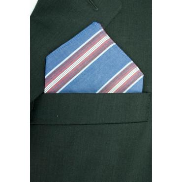 Pochette Fazzoletto Taschino Uomo Azzurro Righe Rosse Cotone